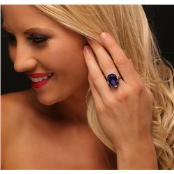 14KT White Gold 16.98ct Tanzanite and Diamond Ring