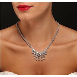 14KT White Gold 9.75ctw Diamond Necklace