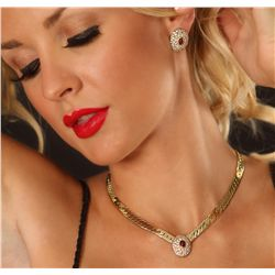 14KT Yellow Gold 1.77ctw Ruby and Diamond Jewelry Suite