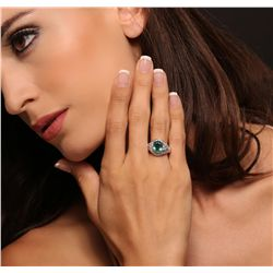 14KT White Gold 2.02ct Emerald and Diamond Ring