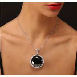14KT White Gold 101.06ct Black and White Diamond Pendant With Chain
