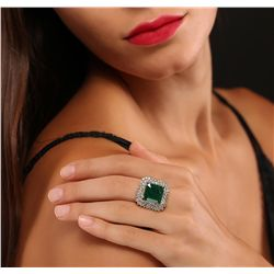 14KT Yellow Gold 9.53ct GIA Certified Emerald and Diamond Ring