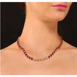 14KT Yellow Gold 50.40ctw Ruby and Diamond Necklace