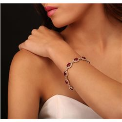 14KT Yellow Gold 23.10ctw Ruby and Diamond Bracelet