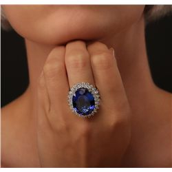 14KT White Gold GIA Certified 22.43ct Tanzanite and Diamond Ring