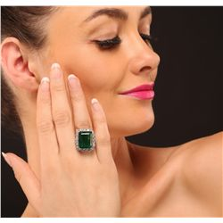 14KT White Gold 11.74ct Emerald and Diamond Ring
