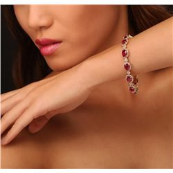 14KT Yellow Gold 18.36ctw Ruby and Diamond Bracelet
