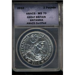 Great Britain 2010 2 Pounds Britania ANACS MS-70, 1 oz of .999 Silver Gem Coin.
