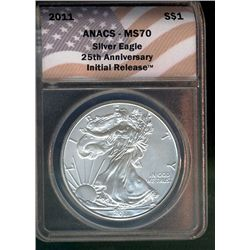 United States 2011 1 dollar, Silver Eagle ANACS MS-70, 1 oz of .999 Silver Gem Coin.