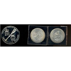 Bermuda; Crown 1959 x 2 in BU condition and 2 dollars5 Sterling silver 1975 in case of issue with CO