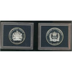British Commonwealth Set 1977; Issue by British Mint, set of 2 Silver Proof Crown. 25 Crowns Turks a