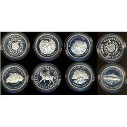 British Commonwealth Set 1977; Issue by British Mint, set of 8 silver Proof Crown. 25 Cents Mauritiu
