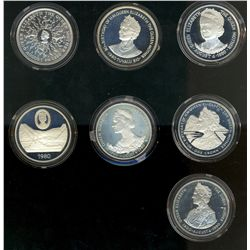 British Commonwealth Set 1980; Issue by British Mint, set of 7 Silver Proof Crown. 1 Crown Gibraltar
