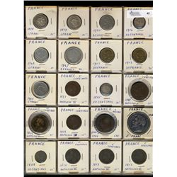 France;  lot of 127 pieces dating mid 1800's to 1900's with many silver issues.  Includes France and