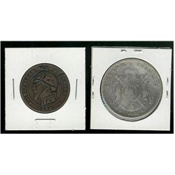 France; 2 interesting and scarce coins; 10 Centimes 1864BB Satirical Comparable to the US Hobo Nicke