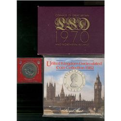 Great Britain 1982 Mint set, 1970 Proof set (2) and 1981 Crown commemorating Charles and Diana's wed