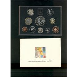 Great Britain 1998 Proof Set in Deluxe case (red) 10 coins.