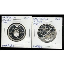 Great Britain; 50 Pence 1994 Sterling Silver Proof KM #966a Normandie Invasion & 2 Pounds 1994 Sterl