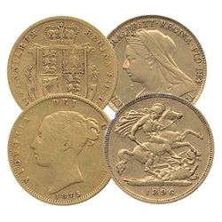 Great Britain; Gold 1875 and 1896 1/2 Sovereign.  Lot of 2 coins VG to VF.