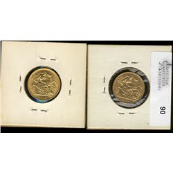 Great Britain; Gold 1910 and 1914 1/2 Sovereign.  Lot of 2 coins EF tu UNC.