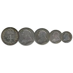 Great Britain; Maundy Money Set includes 1898 1, 2, 3 & 4 Pence.  Lot of 4 coins in Capitol holder.