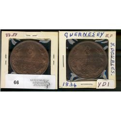 Guernesey, 8 Doubles, 1834, lot of 2 pieces EF or better
