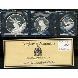 Malta; Proof Set 1977 KM # PS5 ( KM# 45, 46 & 47 With Case of origin and COA.