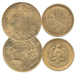 Mexico; Gold 1918 2 1/2 Peso and Switzerland 1913 10 Franc.  Lot of 2 coins.