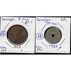Norway; 50 Ore 1928 EF and 5 Ore 1922 EF+. Lot of 2 coins.