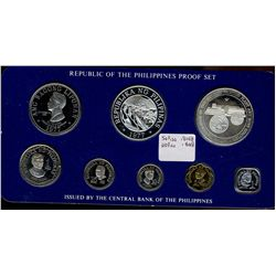 Philippines; 1977 Proof Set minted by Franklin Mint, 8 coins 25 & 50 Piso are silver. With case, sle