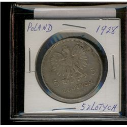 Poland; 5 Zlotych 1928(w) in VF-20 with a 1 cm scratch 1928PL0050.
