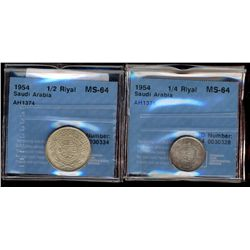 Saudi Arabia; 1/4 Riyal 1935 AH1354 CCCS MS-64 & 1/2 Riyal 1954 AH1374 CCCS MS-64. Lot of 2 coins