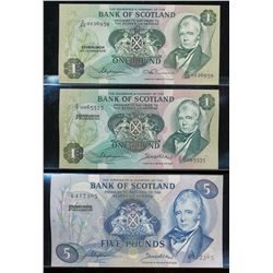 Scotland, Lot of three notes, EF or better.