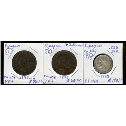Spain;  1877, 1879 10 centimos and 1882 una pesetas.  Three coins VF+.