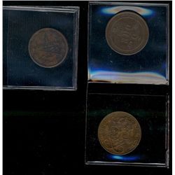 Sweden; 1845 2/3 skilling, 1882 and 1922 5 ore.  Three coins VF-EF.