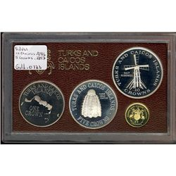 Turks & Caicos Islands; Proof Set 1976 KM #PS3 (KM #5, 6, 9.2, 12) in case of origin, Struck by the