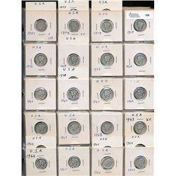 United States 10 Cents Collection;  1901- 1970.  Includes 62 silver pieces and 29 nickel issues.  Fa