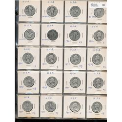 United States 25 Cents Collection;  1925 - 1970.  Includes 57 silver pieces some without dates and 2