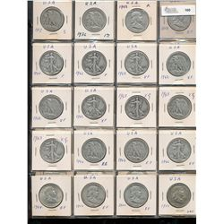 United States 50 Cents Collection;  1917- 1969.  Includes 29 silver pieces and 16 clad issues.  Good
