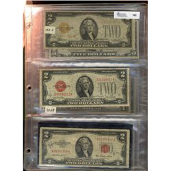 United States;  Banknote lot including some US 2 Dollar issues 1928, 1953, 1976, with some Silver ce