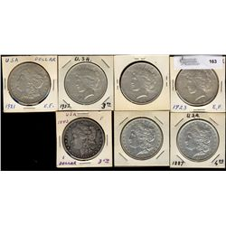United States;  Morgan Dollars 1887(2), 1921D, 1922(2), 1923 & 1883 Love Token issue.  Lot of 7 coin