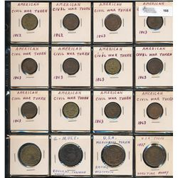 United States; American Civil War Tokens,  16 various issues dating 1837-1862 approximately.  VG to