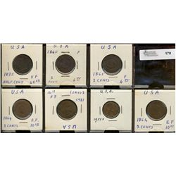 United States; lot includes Half Cents 1835, 2 Cents 14864((2), 1865(3) and 1955D cent.  Good to VF+