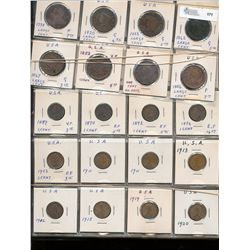 USA Cent Collection; 1798, 1820, 1822, 1842, 1847, 1852, 1856 & 1859 Indian Heads to 1973 issues.  A