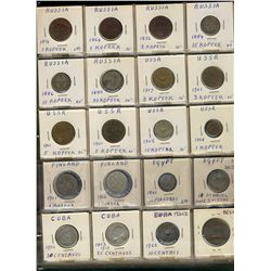 World Coins;  lot of 269 coins from various countries, Russia Cuba, Mexico, Finland, Egypt, Ireland,