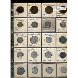 World Coins;  lot of 43 coins from Italy, Switzerland and Portugal.