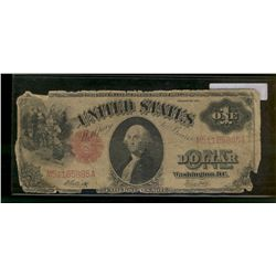 United States; 1 dollar note 1917, Elliott White, M51185885A, Red Seal, Washington D.C., Good with p