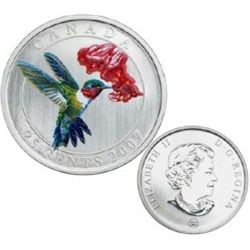 RCM Lot; 25 cents coin; Bird of Canada Series; 2007 Ruby-throated Hummingbird  in original casing wi