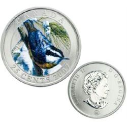 RCM Lot; 25 cents coin; Bird of Canada Series; 2007 Red-breasted Nuthatch  in original casing with C