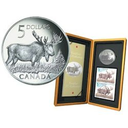 RCM Lot; 5 dollars coins; Canadian Wildlife Series; 2004 The Majestic Moose in original casing with